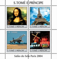 S. TOME & PRINCIPE 2004 - Paris: Mona Lisa, Concorde, Moulin Rouge, Tour Eiffel 4v - São Tomé Und Príncipe
