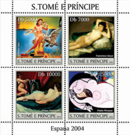 S. TOME & PRINCIPE 2004 - Spanish Paintings (Dali, Goya, Velasquez, Picaso) 4v - Sao Tome And Principe