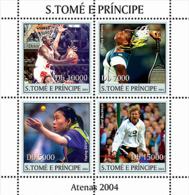 S. TOME & PRINCIPE 2004 - Sports-Athenes 2004:basket, Tennis, Football 4v - YT 1942-1945,  Mi 2639-2642 - Sao Tome And Principe