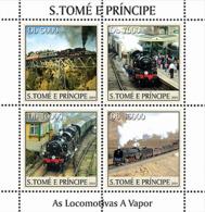 S. TOME & PRINCIPE 2004 - Locomotives 4v - YT 1958-1961,  Mi 2629-2632 - Sao Tomé E Principe
