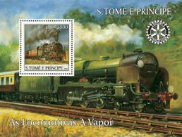 S. TOME & PRINCIPE 2004 - Locomotives, Rotary S/s - YT BF309,  Mi BL.514 - Sao Tomé E Principe