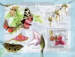 S. TOME & PRINCIPE 2006 - Butterflies & Orchids S/s - YT 327,  Mi 2758/BL.539 - Sao Tome And Principe