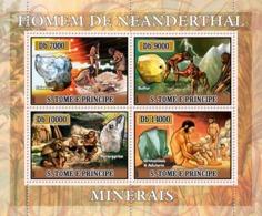S. TOME & PRINCIPE 2007 - Neandartal People, Minerals 4v - YT 2242-2245,  Mi 2976-2979 - Sao Tome And Principe