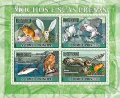 S. TOME & PRINCIPE 2007 - Owls And Their Prey 4v - YT 2246-2249,  Mi 2972-2975 - Sao Tome And Principe