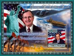S. TOME & PRINCIPE 2007 - 41st American President- G.H.W. Bush, Kuwait War, Military Ships S/s - YT 384,  Mi 2962/BL587 - Sao Tome Et Principe