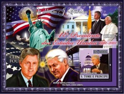 S. TOME & PRINCIPE 2007 - 42nd American President- W.J. Clinton, Pope John Paul II, Yeltsin S/s - YT 385,  Mi 2963/BL588 - Sao Tome And Principe