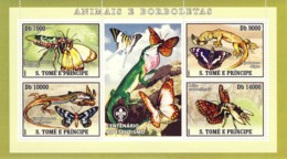 S. TOME & PRINCIPE 2007 - Butterflies, Lizard, Insects 4v - YT 2222-2225,  Mi 3008-3011 - Sao Tome And Principe
