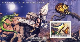 S. TOME & PRINCIPE 2007 - Butterflies, Bird, Lizard, Bat S/s - YT 375,  Mi 3049/BL594 - Sao Tome And Principe