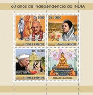 S. TOME & PRINCIPE 2007 - 60 Years India Independence - Ghandi 3v - YT 2313-2315, Mi 3187-3189 - Sao Tome En Principe
