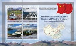 S. TOME & PRINCIPE 2007 - Train - Tangula Express (Pekin - Lhassa) 4v - YT 2371-2374, Mi 3094-3097 - Sao Tomé E Principe