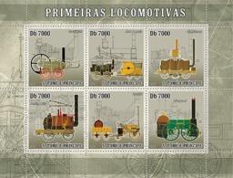 S. TOME & PRINCIPE 2007 - First Trains - Steam Trains 6v - YT 2375-2380, Mi 3054-3059 - Sao Tomé E Principe