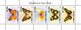 S. TOME & PRINCIPE 2007 - Butterflies Of Sao Tome 5v - YT 2431-2435, Mi 3199-3203 - Sao Tomé Y Príncipe