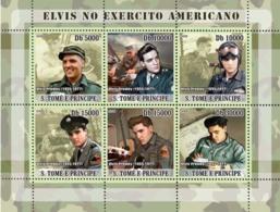 S. TOME & PRINCIPE 2008 - Elvis Presley Joins Army 6v - YT 2544-2549, Mi 3395-3400 - Sao Tome Et Principe