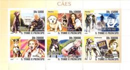 S. TOME & PRINCIPE 2008 - Dogs & Their Masters (Clinton, Rasmussen, Madonna, Irwin) 6v - YT 2678-2683, Mi 3530-3535 - Sao Tome And Principe
