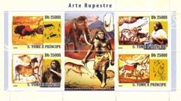 S. TOME & PRINCIPE 2008 - Rupestry Art, Prehistoric People & Animals 4v - YT 2684-2687, Mi 3562-3565 - Sao Tome Et Principe