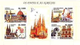 S. TOME & PRINCIPE 2008 - Popes (J.P. II & Benedict XVI) & Churches 4v - YT 2698-2701, Mi 3544-3547 - Sao Tomé E Principe