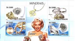 S. TOME & PRINCIPE 2008 - Minerals & Bijou, Marilyn Monroe 4v - YT 2708-2711, Mi 3566-3569 - São Tomé Und Príncipe