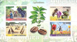 S. TOME & PRINCIPE 2008 - Agriculture (Bees, Grapes, Coffe, Tupils, Windmills) 4v - YT 2718-2721, Mi 3554-3557 - Sao Tome And Principe