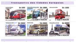 S. TOME & PRINCIPE 2008 - European City Transports (trains, Bus, Auto Taxi) 6v - YT 2722-2727, Mi 3524-3529 - Sao Tome And Principe