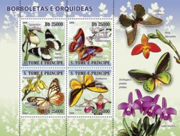 S. TOME & PRINCIPE 2008 - Butterflies & Orchids 4v - YT  3634-3637, Mi 2756-2758 - Sao Tome And Principe