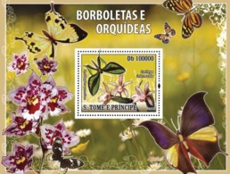 S. TOME & PRINCIPE 2008 - Butterflies & Orchids S/s - YT 3638/BL661, Mi BL.448 - Sao Tome And Principe