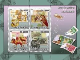 S. TOME & PRINCIPE 2008 - Animals On Banknotes (Snake, Owl, Elk, Buffalo) 4v - YT 3575-3578 Mi 2764-2767 - São Tomé Und Príncipe