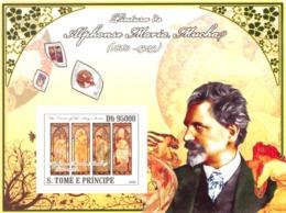 S. TOME & PRINCIPE 2008 - Paintings Of Alphonse Maria Mucha (1860-1939) S/s - YT 3702/BL665, Mi 454 - Sao Tomé Y Príncipe