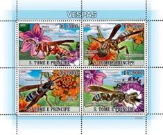 S. TOME & PRINCIPE 2009 - Bees (Flowers) 4v - YT 2920-2923, Mi 3785-3788 - Sao Tome And Principe