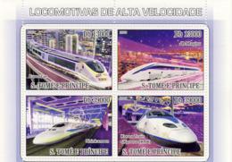 S. TOME & PRINCIPE 2009 - Speed Trains 4v - YT 2996-2971, Mi 3797-3800 - Sao Tomé E Principe