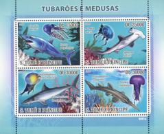 S. TOME & PRINCIPE 2009 - Sharks & Jellyfishes (Corals) 4v - YT 2972-2975, Mi 3856-3859 - Sao Tome And Principe