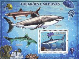 S. TOME & PRINCIPE 2009 - Sharks & Jellyfishes (Corals) S/s - YT 462, Mi 3860/BL.677 - Sao Tome And Principe