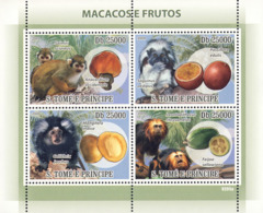 S. TOME & PRINCIPE 2009 - Macaque's & Fruits 4v - YT 2980-2983, Mi 3903-3906 - Sao Tome And Principe
