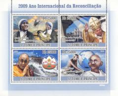 S. TOME & PRINCIPE 2009 - 2009 Year Of International Reconciliation (M. Teresa, Pope) 4v - YT 2984-2987, Mi 3881-3884 - Sao Tome And Principe
