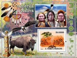 S. TOME & PRINCIPE 2009 - Native America, Indians (Bird Of Pray, Bison) S/s - YT 476, Mi 4052/BL.688 - Sao Tome And Principe