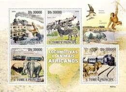 S. TOME & PRINCIPE 2009 - Trains & Animals Of Africa 5v - YT 3166-3169, Mi 4231-4234 - Sao Tome Et Principe