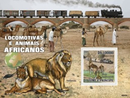 S. TOME & PRINCIPE 2009 - Trains Of Africa Animals S/s - YT 503, Mi 4235/BL.731 - Sao Tome Et Principe