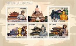 S. TOME & PRINCIPE 2009 - Buddhist Temples 5v - YT 3207-3211, Mi 4186-4190 - Sao Tome And Principe