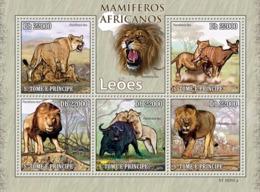 S. TOME & PRINCIPE 2010 - Animals Of Africa - Lions 5v - YT 3446-3450, Mi 4454-4458 - Sao Tome Et Principe
