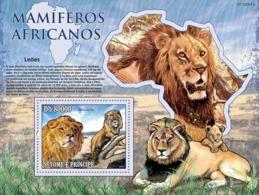 S. TOME & PRINCIPE 2010 - Animals Of Africa - Lions S/s - YT 537, Mi 4479/BL.767 - Sao Tome Et Principe