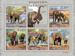 S. TOME & PRINCIPE 2010 - Animals Of Africa - Elephants 5v - YT 3451-3455, Mi 4464-4468 - Sao Tome Et Principe
