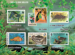 S. TOME & PRINCIPE 2010 - Stamp On Stamp (WWF - Fauna) 5v - YT 3672-3676, Mi 4637-4641 - Sao Tomé Y Príncipe