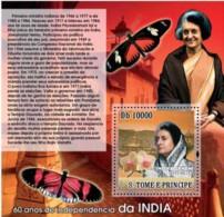 S. TOME & PRINCIPE 2007 - Independence Of India - Indira Gandhi S/s - Sao Tome Et Principe