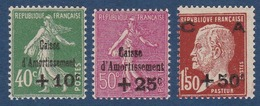 N°__253 A 255 TIMBRES CAISSE D'AMORTISSEMENT, TIMBRES NEUFS ** 1929 - France