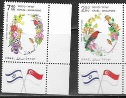 ISRAEL, 2019, MNH,JOINT ISSUE WITH SINGAPORE, BIRDS, BUTTERFLIES, 2v - Joint Issues