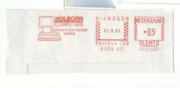 Red Meter Frankeer ATM 1981 Nijmegen Holborn Computers Company Screen Keyboard - Marcophilie - EMA (Empreintes Machines)