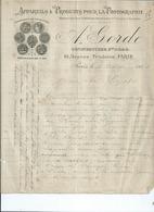 Facture - A GORDES - Appareils Et Produits Pour La Photographie - PARIS - 1891 - Francia