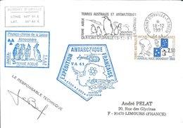 TAAF - Dumont D'Urville-T.Adélie: Lettre Avec Timbre N°157 Amiral Douguet + OMEC SECAP Du 18/12/1991 - Storia Postale
