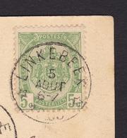 N° 81 / CP Du Dépot-relais De * LINKEBEEK * Vers BXL Cachet De Transit Uccle Carte Verrewinkel ,  L  Hopital - 1893-1907 Coat Of Arms