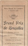 Bruxelles - Parc De Laeken - Grand Prix Motos Et Side-cars 1/9/1929 - Pub Motos Gillet, Castrol - Programmes