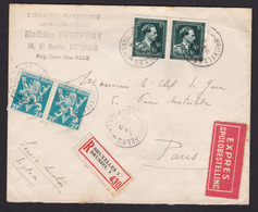 Paires  N° 684 Et 696 / Enveloppe En  Recommandé Et EXPRES De BXL Vers Paris 8 04 46 - 1934-1935 Léopold III